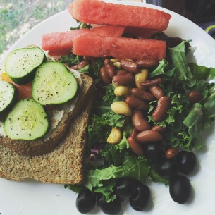 Hummus and Cucumber Sand which W/ Kale